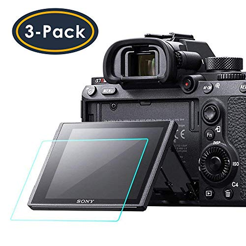 Screen Protector Compatible Sony Alpha a7RIII A7R3 A9 A7II A7RII A7SII A77II A99II RX100 RX100V RX1 RX1R RX10 RX10II Camera, QIBOX Tempered Glass Screen Guard Full Coverage Edge to Edge[3 Pack] 3 Screen Protector Guard