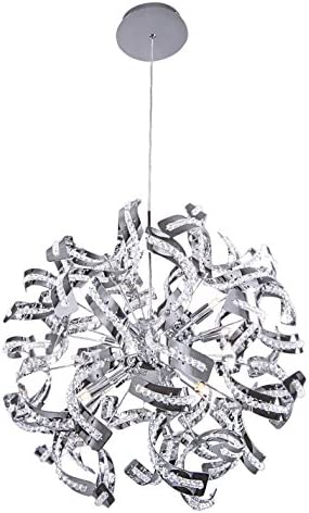 Ribbon 12 Light 24 Chrome Pendant Chandelier with Clear Crystal Accents