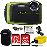 Fujifilm FinePix XP90 Shock & Waterproof Wi-Fi Digital Came (Lime Green) in White Promotional Packaging (Non-Retail) w/32GB Card+Battery & Charger+Neoprene Case+Floating Strap+Memory Card Reader+MORE
