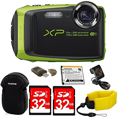 Fujifilm FinePix XP90 Shock & Waterproof Wi-Fi Digital Came (Lime Green) in White Promotional Packaging (Non-Retail) w/32GB Card+Battery & Charger+Neoprene Case+Floating Strap+Memory Card Reader+MORE by DigiDeals4Less