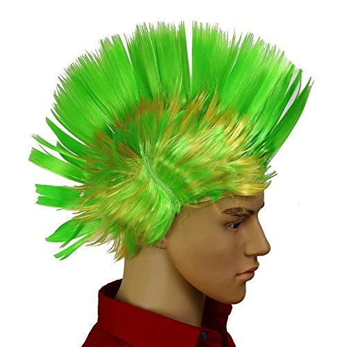 Dazzling Toys Wiggling Punk Blinking LED, Green and Colored Wig. One per Pack. ()