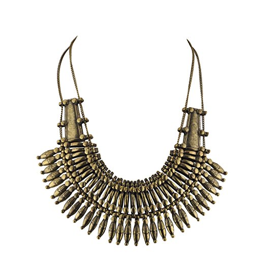 Lux Accessories Boho burnished Gold Casted Metal Amor Spike Statement Necklace (Burnished Pendant Gold)