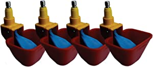 Royal Rooster Lubing Drinker Cup Poultry Waterer Nipple European Made 'No Peck' - 4 Pack