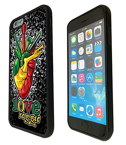1098 - Cool Fun Reggae Heart Beat Music Rasta Jamaican Weed High Love Design iphone 6 Plus / iphone 6S Plus 5.5'' Fashion Trend Protecteur Coque Gel Rubber Silicone protection Case Coque - Noir
