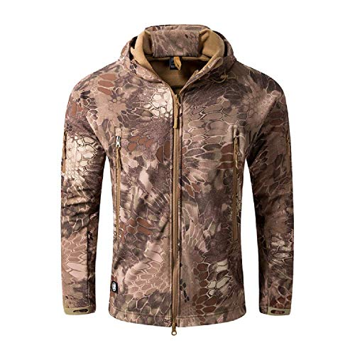 (NEW VIEW Jackets Outdoor Soft Shell Jacket Warm Hooded Camouflage Hunting Jacket (XXL, 9))