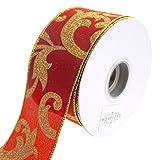 Homeford FRR093002W99440H Ribbon, 2-1/2'', Red/Gold