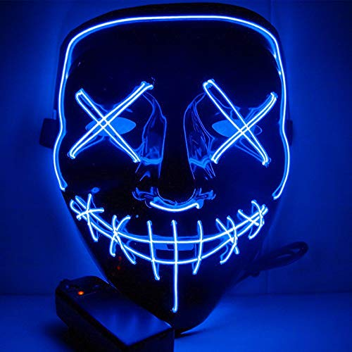 Light Up Masks Stitches LED Costume Mask (Halloween Rave Cosplay EDM Purge) GR (Blue) ()