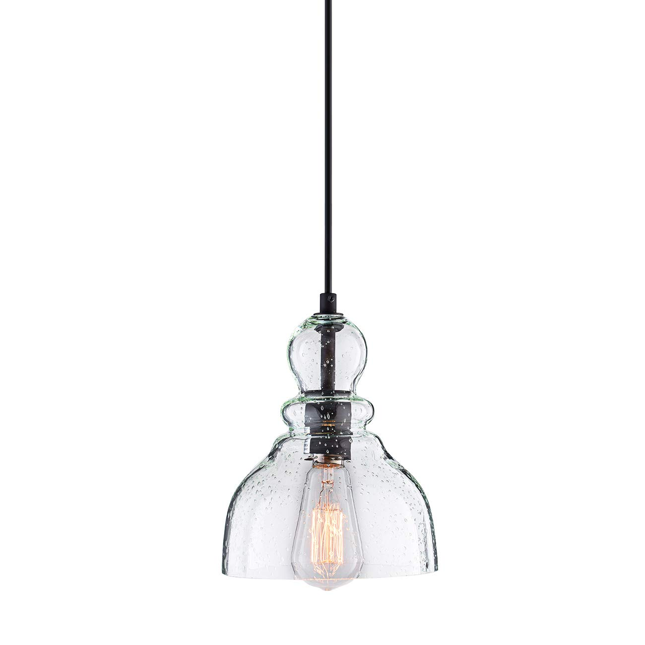Lanros Industrial Mini Pendant Lighting with Handblown Clear Seeded Glass Shade, Adjustable Edison Farmhouse Kitchen Lamp for Kitchen Island, Restaurants, Hotels and Shops, 1-Pack