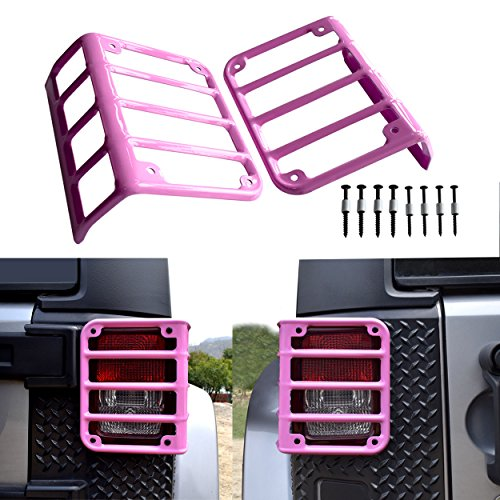 Allinoneparts 2007 - 2018 JK JKU Jeep Wrangler Taillights Covers Tail light Guard Rear Light Cover,Matte Black(2 Pairs) (Pink Style)