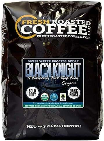Fresh Roasted Coffee LLC, Black Knight Decaf Organic Coffee, Swiss Water Decaf, Artisan Blend, Dark Roast, Fair Trade, USDA Organic, Whole Bean, 5 Pound Bag