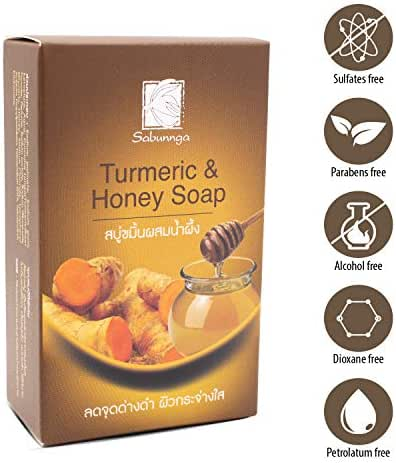 SABUNNGA Turmeric & Honey Natural Herbal Soap, Diminish Dark Spots | Whitening with Turmeric.Skin Lightening Soap ,Size 3.52 OZ