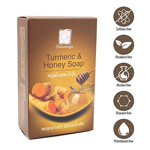 SABUNNGA Turmeric And Honey Natural Herbal Soap Formula Diminish Dark Spots Whitening With Turmeric Skin Lightening Soap ,size 3.52 Oz