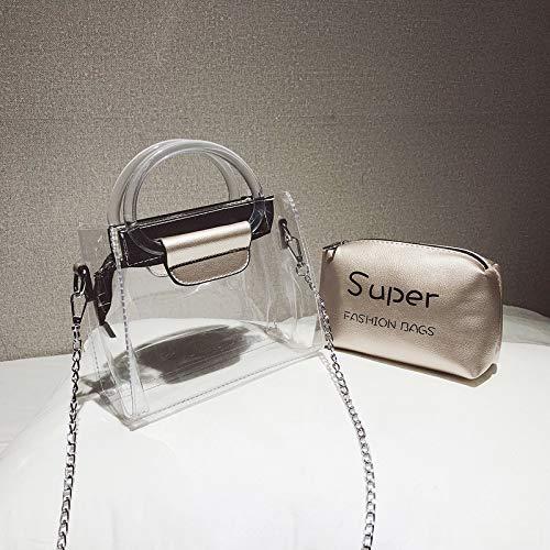Lettre Jelly Contraste Paquet Sac Couture rétro Laser Femme Sac Transparent Tendance Sac Paillettes Petit Couleur Impression carré CXf78qw