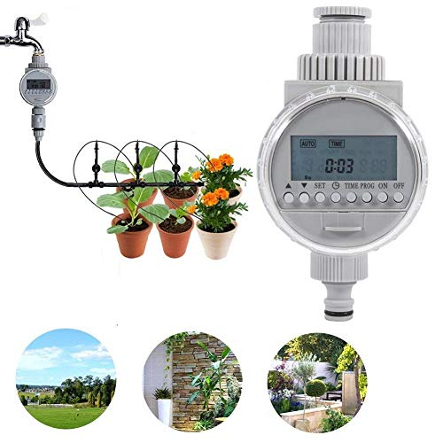 Zerodis Solar Powered Automatic Watering Timer,Fit 1/2″ Intelligent Irrigation Controller with LCD Digital Screen for Home Garden Greenhouse Plant Grass