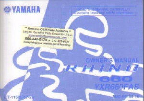 - LIT-11626-17-23 2004 Yamaha YXR660FAS Rhino 660 Auto 4X4 ATV Owners Manual