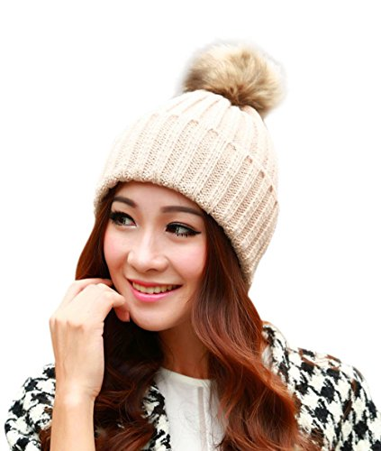 Yidarton Ladies Winter Wool Knit Beanie Warm Fur Pom Bobble Hat Crochet Ski Cap Beige
