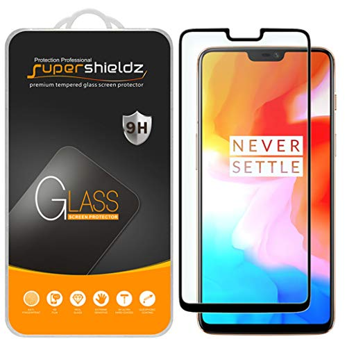 Supershieldz [2-Pack] for OnePlus 6 Tempered Glass Screen Protector, [Full Screen Coverage] Anti-Scratch, Bubble Free, Lifetime Replacement (Black)