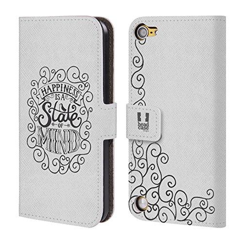 Head Case Designs Happiness Tipografia Fatta A Mano Cover a portafoglio in pelle per iPod Touch 5th Gen / 6th Gen