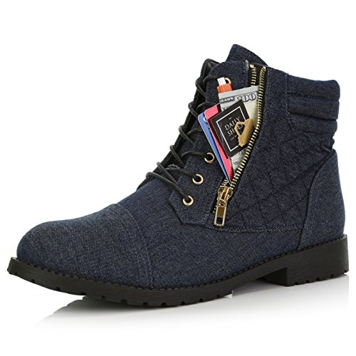 DailyShoes Women's Ankle Boots Combat Low Heel Lace Up Zipper Pocket Thick Motorcycle Cross Tied Zip Toe Footwear Boot Exclusive Credit Card Bootie Susan-01 Blue Denim 9.5 (Tied Jeans)