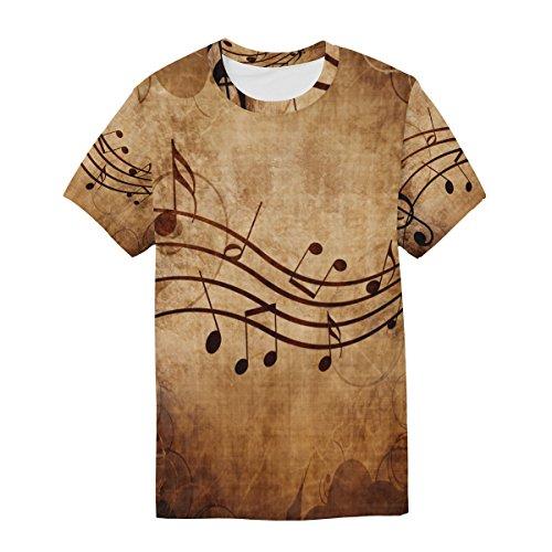 Man T Shirt Alaza Multicolor Kurzarm Gelegenheitshalsband Notes Musical Vintage kXP8nOw0