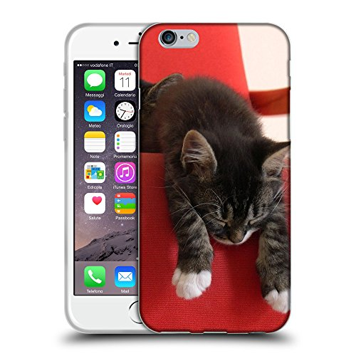 Just Phone Cases Coque de Protection TPU Silicone Case pour // V00004317 Chatons accoudés sur le canapé rouge // Apple iPhone 6 6S 6G PLUS 5.5""