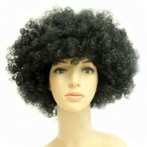 [Party Cosplay Quirky Wig Periwig Wild-curl up Curly Clown Costumes, Black] (Wild Curl Black Wig)