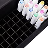 MEEDEN 120 Slots Marker Case Lattice Style Empty Holder Marker Storage Bag with Hard Plastic Handle and Baldric for Copic Prismacolor Touch Spectrum Noir Paint Markers
