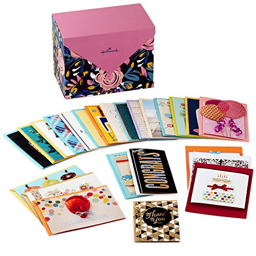 Hallmark Handmade All Occasion Boxed Greeting Card Assortment, Modern Floral (Pack of 24)-Birthday Cards, Baby Shower Cards, Wedding Cards, Sympathy Cards, Thinking of You Cards, Thank You Cards ()