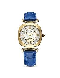 Time100 New Fashion Ladies Gold Diamond Dial Blue Strap Quartz Women's Watches Dress Casual W80134L.04
