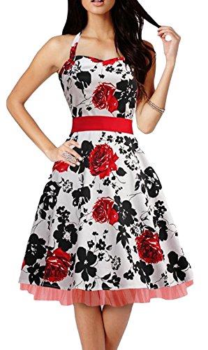 YOGLY Damen Kleider Chic Ärmellos 1950er mit Blumenausdruck ...