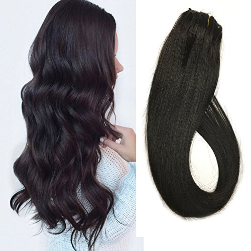 Black Clip in Hair Extensions Human Hair Clip on Extensions Natural Black 16 inch 7 Hair Piece Full Head Fine Hair #1B Silky Straight 70g Remy Hair (Natural Human Extension Hair)