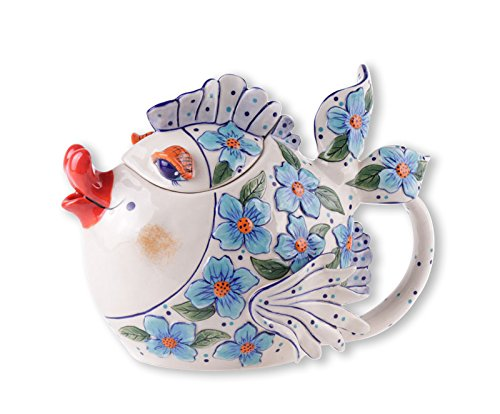 "Blue Sky Ceramic Blue Flower Fish Teapot, 9.5 x 6 x 7"""