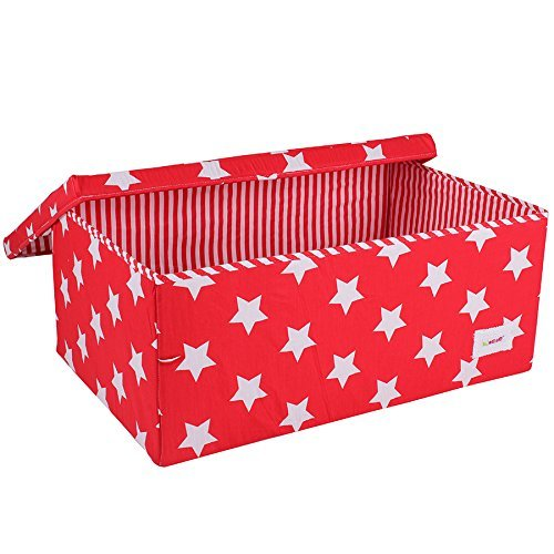 Minene Large Storage Box with Lid Red Star - star storage box, large fabric storage box - great for toy storage, kids storage by Minene by Minene