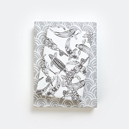 - Black and White Koi Fish and Scales Designer Gift Wrap (6 Sheet Value Pack) - Reversible - Eco-friendly Wrapping Paper By Wrappily