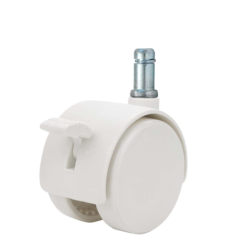 Twin Wheel Caster Solutions TWHN-50N-G20-WH-B 2 Diameter Nylon Wheel Hooded Brake Caster 7//16 x 7//8 Grip Ring Stem 110 lb Capacity Range