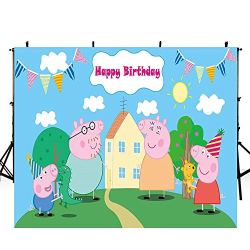 Pink Peppa Pig Birthday Background 7x5 Cartoon Birthday Backdrop Decorations for Girls Vinyl Photo Backgrounds Tabletop