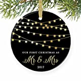 "First Christmas as Mr & Mrs Ornament 2017, 1st Married Christmas Ornament, First Married Christmas, 3"" Flat Circle Porcelain Ornament w Glossy Glaze, Gold Ribbon & Free Gift Box 