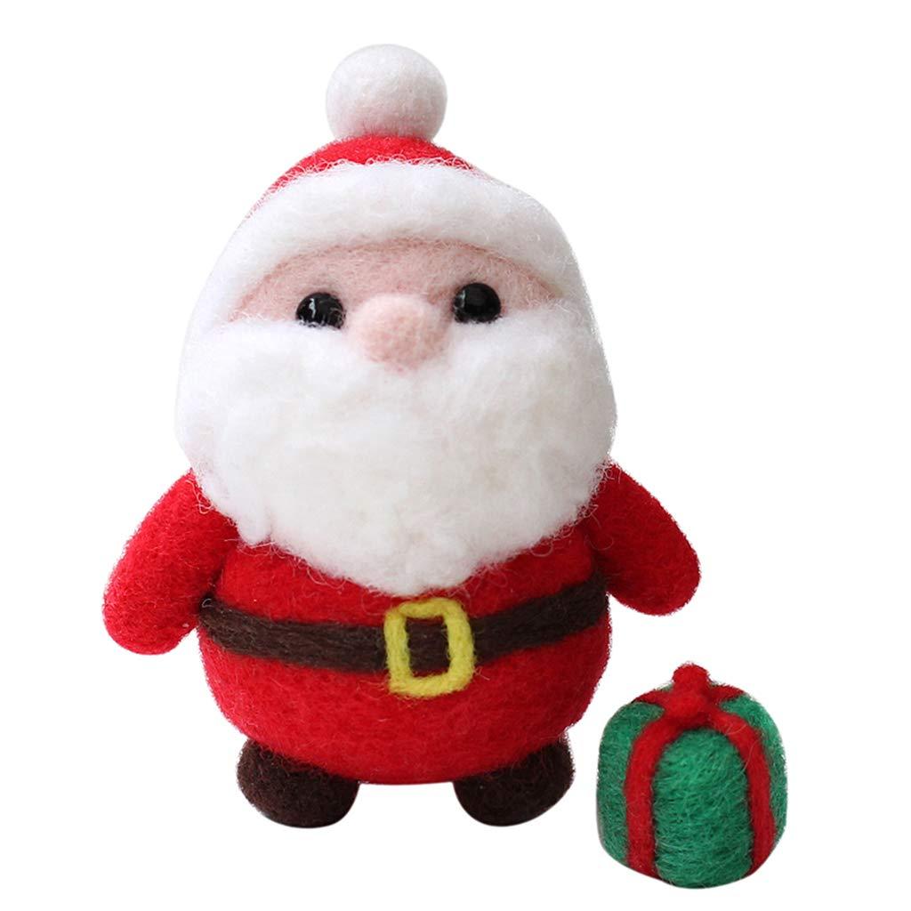 B Baosity Handmade Cute Santa Claus Needle Wool Felt Kit for Beginners