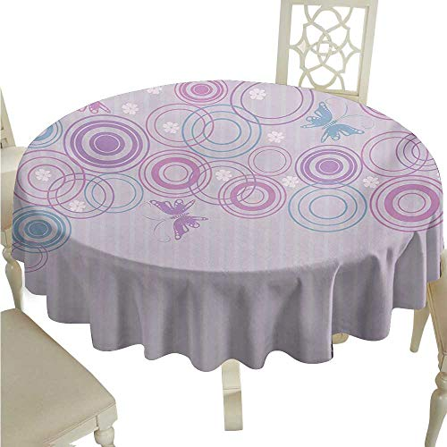 crabee Round Tablecloth Vinyl Butterfly,Abstract Soft Color Background with Lovely Summer Season Animals and Circles,Lilac Blue Pink D54,for Baby Shower