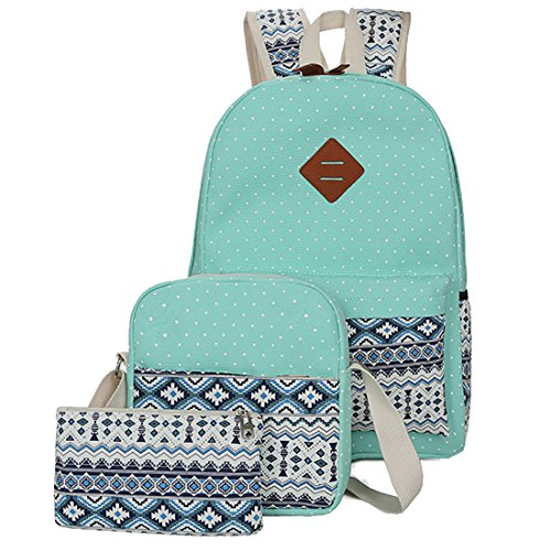 Veenajo Casual Lightweight Cute Dot Canvas Laptop Bag Shoulder Bag School Backpack (Green) - Light Blue Funky Flower