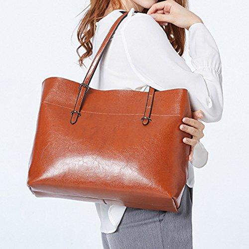 Sac cuir femme sac PU à cuir à mode capacité main imperméable main sac marron synthétique en juqilu à main à à bandoulière grande Sac OtXwYWqxWS