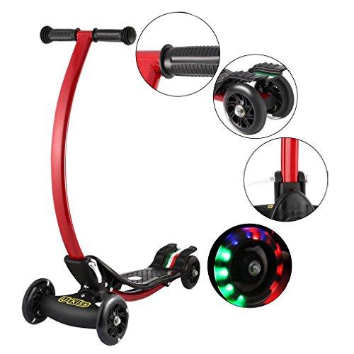 Nexttechnology Kick Scooter, C Shape Light Up Wheels Surfing/Drifting Style Rear Break Skate Board for Children (Motor Scooter Style)