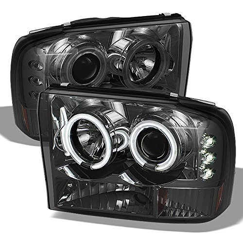 Ford F-Series SuperDuty 00-04 Excursion Chrome Clear Dual Halo Projector Headlights Replacement Pair - Excursion Halo Projector Headlights