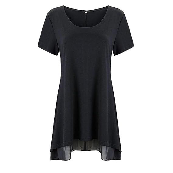 Vovotrade Camisa de encaje con cuello en V de manga corta para mujer Camisa de blusa