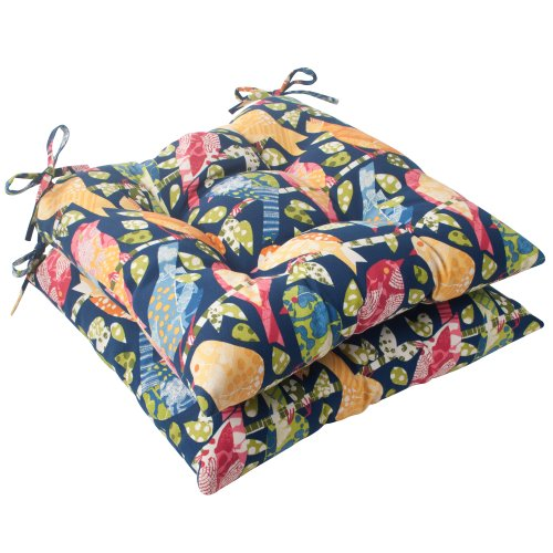 Pillow Perfect Outdoor Ash Hill Tufted Seat Cushion, Navy, Set of 2