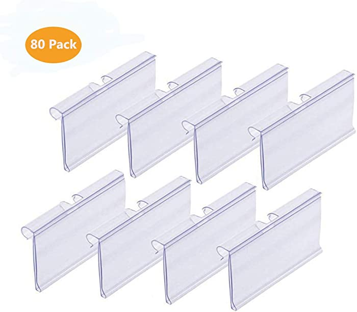 IRCHLYN 80 PCS Clear Plastic Label Holder Wire Shelf Retail Price Tag Label Card Merchandise Sign Display Holder (6cm x 4.2cm)