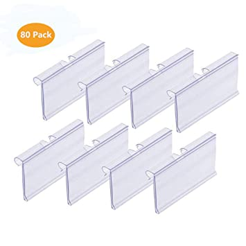 6cm x 4.2cm Canomo 40 Pack Plastic Wire Shelf Price Label Holders Merchandise Display Sign Display Holder Clear
