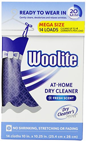 Woolite DCS14N Dry Cleaner's Secret (14 Uses)-At Home Dry Cleaner for Fine Fabrics, Hand Washables and Dry Clean Only Clothing, Fresh Scent