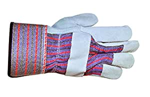 G & F 5015L-5 Regular Cowhide Leather Palm Work Gloves for driving and construction with rubberized safety cuff, Large, 5-Pair pack