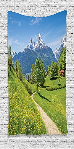 Cotton Microfiber Bathroom Towels Ultra Soft Hotel SPA Beach Pool Bath Towel Apartment Wildflowers In The Alps And Snow Capped Mountains National Park Bavaria Germany Yellow Green